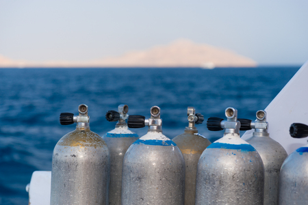 Oxygen tanks on the deck of the yacht Stock Photo