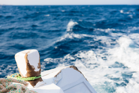 Detail of deck of a motor yacht sailing on a sea Stock Photo
