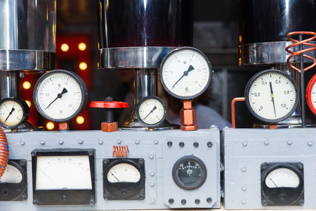 metering: Dials of a large steam engine