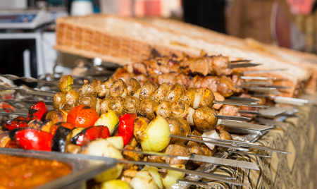 carnes y verduras: Bounty of cooked meats and vegetables arranged neatly on metal platters at food festival