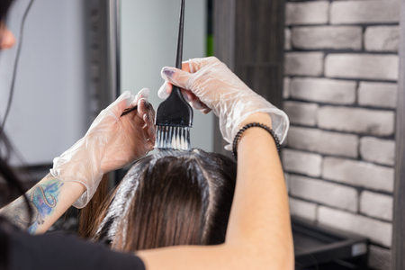 Hands of female stylist dyeing hair of young woman while she is sitting in chair in beauty salon