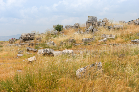 Scattered remnants of ancient ruined classical stone buildings in a grassy field under a cloudy sky Stock Photo