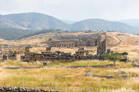 Scenic landscape of the ancient Greek spa resort Hierapolis with its amphitheatre in Anatolia, Turkey