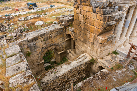 Detail of the ancient Greek theatre at the amphitheatre at Hierapolis, Turkey, an ancient spa resort near the hot springs 스톡 콘텐츠