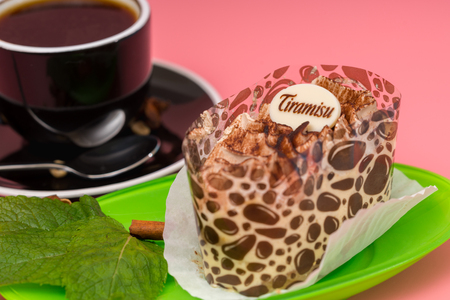 Tiramisu dessert in a stylish wrapping Stock Photo