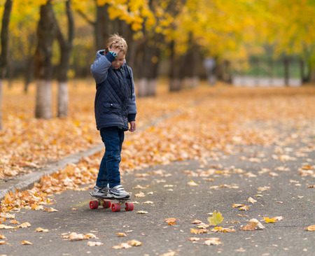 Young boy in grey jacket skateboarding in the park in fall season, viewed from his front. Copy space with blurred trees and yellow leaves to the side. Archivio Fotografico