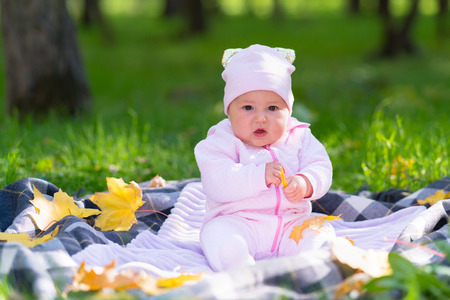 A baby in pink clothing playing on a picnic rug amongst autumn leaves in a park scene.