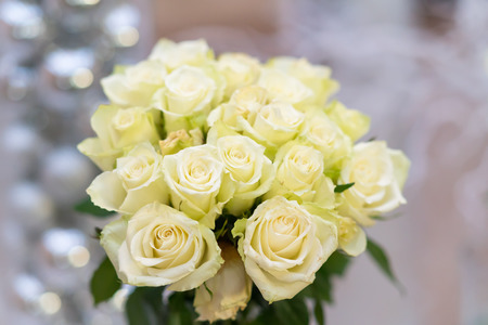 Bouquet of scented fresh white roses conceptual of love, a wedding, special occasion, Valentines or Mothers day