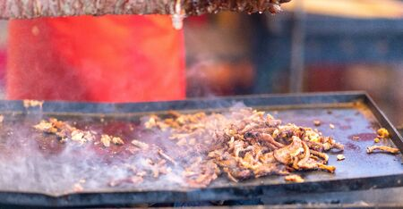 Shavings of spicy meat carved off a doner kebab grilling on a rotisserie above lying in a heated metal tray over a fire Standard-Bild