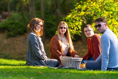Two young couples enjoying an autumn picnic sitting on the green grass in a park around a food hamper turning to smile at camera