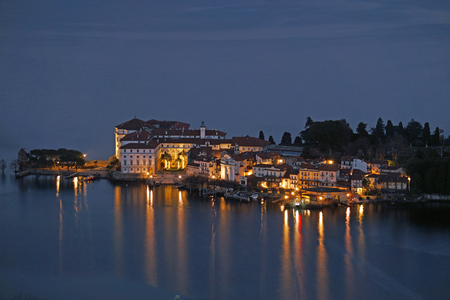 Isola Bella Lake Maggiore Italy aerial night view
