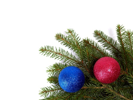 stocking up for postcard on cristmas, new year, spruce, balls