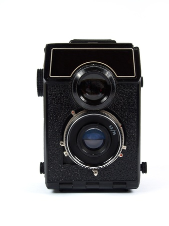 old camera on white background   Stock Photo