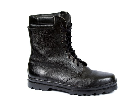 clasp feet: blackenning army footwear located on white background Stock Photo