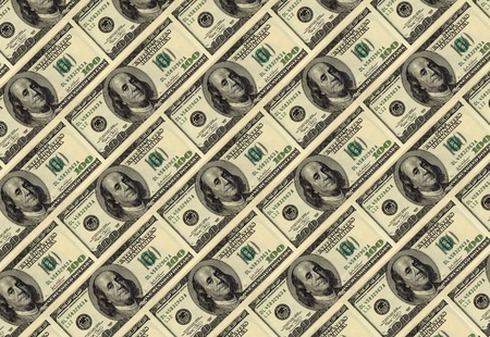 one hundred dollars diagonally forming texture, background