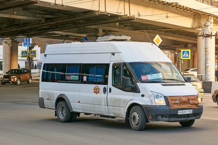 Rostov-on-Don  Russia - January 2018: The shuttle bus moves along the route through the streets of Rostov-on-Don Editorial