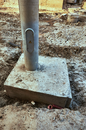 Concrete base of electroplate