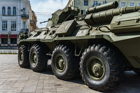 Rostov-on-Don  Russia - May 2018: Static exhibition of real military equipment near the entrance to Gorky Park during the parade