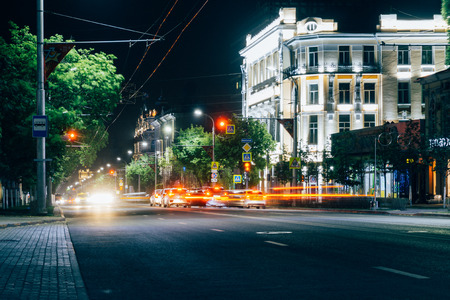 Rostov-on-Don  Russia - May 2018:  The streets of Rostov-on-Don at night in the light of headlights of cars, high lanterns and advertising stores in anticipation of the 2018 FIFA World Cup Editorial