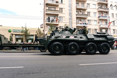 Rostov-on-Don  Russia - 9 May 2018: The military armored personnel carrier BTR 80 drove through the streets in honor of the Victory Day Victory Day on May 9, 1945 Editorial