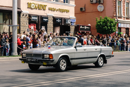 Rostov-on-Don  Russia - 9 May 2018: Military equipment drove through the streets of the city in honor of the Victory Day Victory Day on May 9, 1945, this is observed by a lot of people