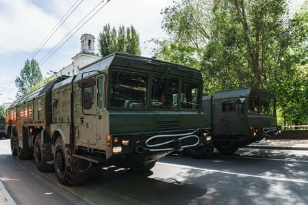 Rostov-on-Don / Russia - May 2018: Parade of real military equipment and soldiers in the streets of the city in honor of victory