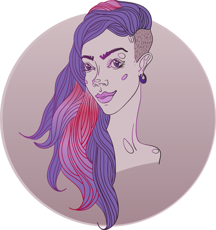 Vector illustration. Young girl with trendy hairstyle. Çizim
