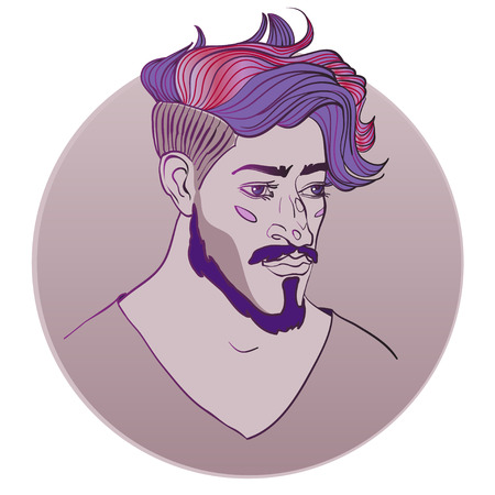 trendy: Guy with trendy haircut Illustration