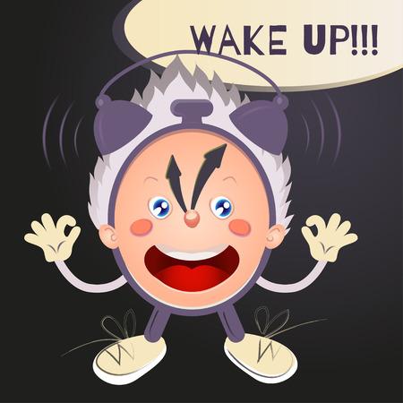 wake up: Ringing Wake up! cartoon alarm clock character