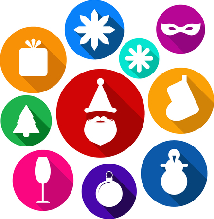 shopping champagne: Christmas icons in bright colours vector format