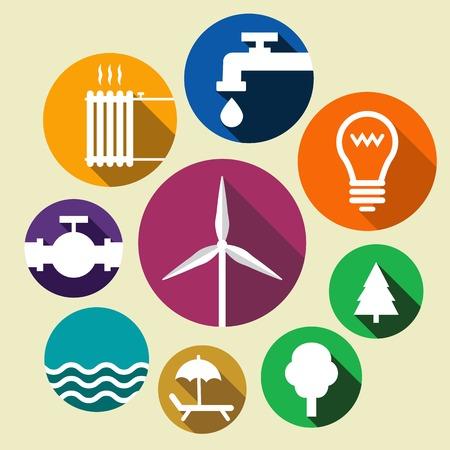 viento: Los iconos que muestran el ambiente verde y diferentes tipos de suministro Vectores