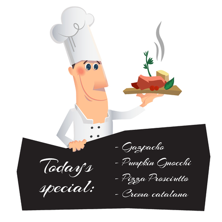 professional chef: Chef serving the dish and holding menu board. Vector illustration