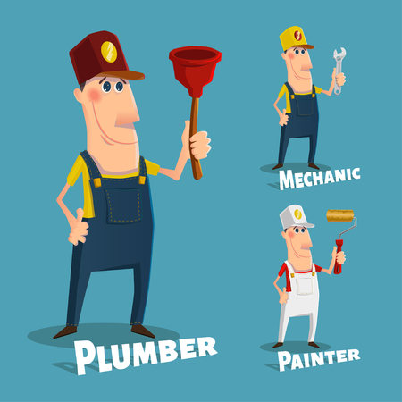 cartoon carpenter: Set of professions in cartoon style , eps10 vector format