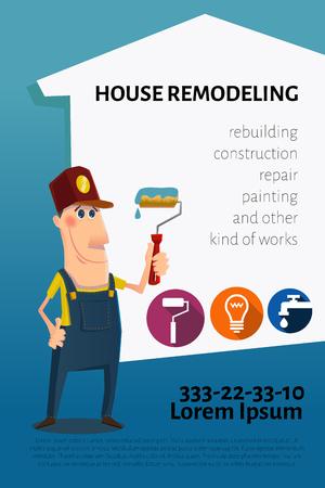 pintor de casas: Simpático personaje de dibujos animados con el pintor de rodillos para pintar. La ilustración se puede utilizar como tarjeta de visita, la bandera o el prospecto