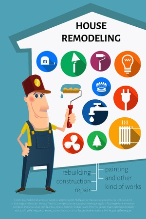 Nice cartoon painter character. and set of icons. House remodel theme.
