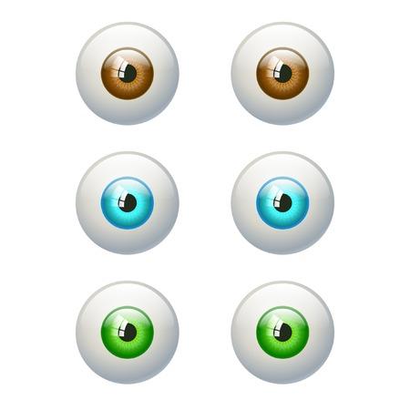 ojos marrones: Conjunto de ojos de colores. Marrón, azul, verde ojo. Ilustración del vector aislado en blanco
