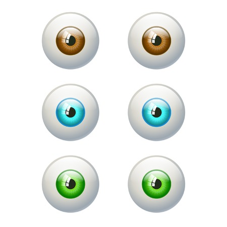 cartoon eyes: Set of colorful eyes. Brown, blue, green eye. Vector illustration isolated on white Illustration