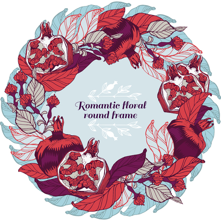 lable: Floral ornamental illustration in vector format. Pomegranate postcard, banner or lable