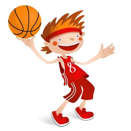 pelota caricatura: El jugador de baloncesto ni�o sonriente con una pelota. Ilustraci�n del vector aislado en el fondo blanco para el dise�o deportivo. Vectores