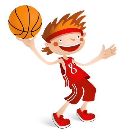 basketball dunk: Smiling basketball player boy with a ball. Vector illustration isolated on white background for sports design. Illustration