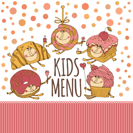 eat cartoon: Hand drawn dessert characters for kids menu design. Cupcake and croissant, candy and donut, cake character.