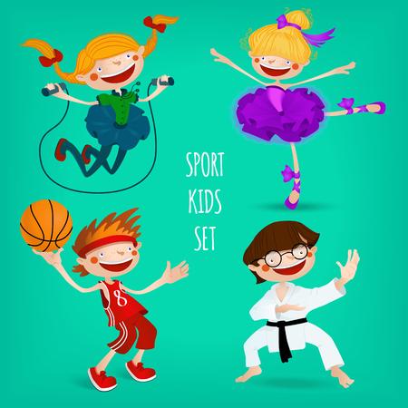 baloncesto chica: Conjunto de ni�os deportivos. Karate, baloncesto, bailarina, saltar la cuerda con un ni�o. Ilustraci�n del vector para el dise�o de los deportes.