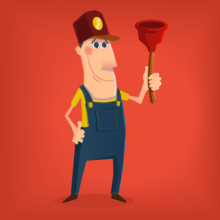 plumber tools: Hand drawn plumber character in cartoon style Illustration