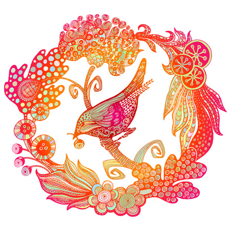 digital printing: card with flowers and bird. Illustration for greeting cards, invitations and other printing or digital projects