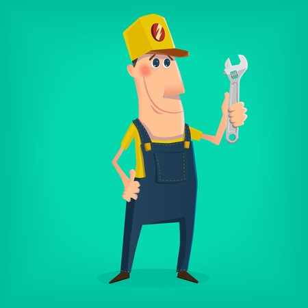 worker cartoon:  mechanic character in cartoon style Illustration
