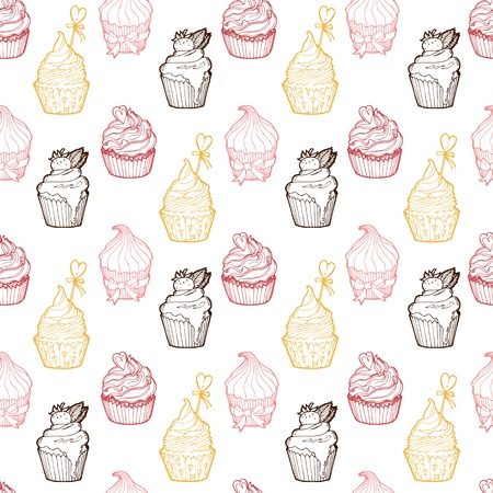 Seamless pattern made of cupcakes. Easy editable.
