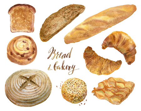 baked goods: Watercolor set of baking in realistic style. Buns, baguettes, bread, pastries, and other baked goods. Vintage watercolor concept for a bakery or cafe.