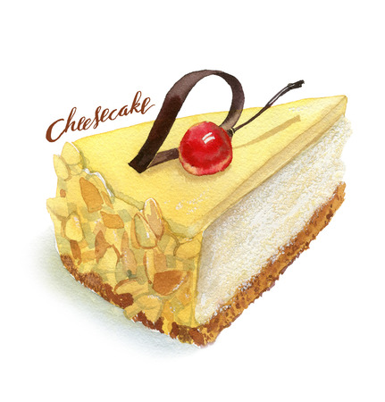 cheesecake: Cheesecake hand painted with watercolor realistic illustration