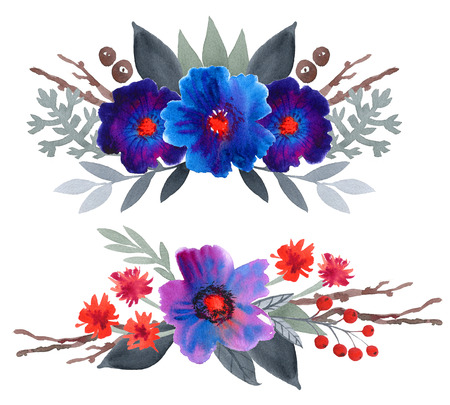blue grey: Watercolor floral set. Colorful blue and purple floral collection with leaves and flowers,drawing watercolor. two Colorful floral bouquets. Stock Photo