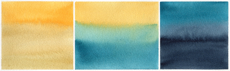 reminding: Set of golden - blue watercolor backgrounds reminding sea landscape